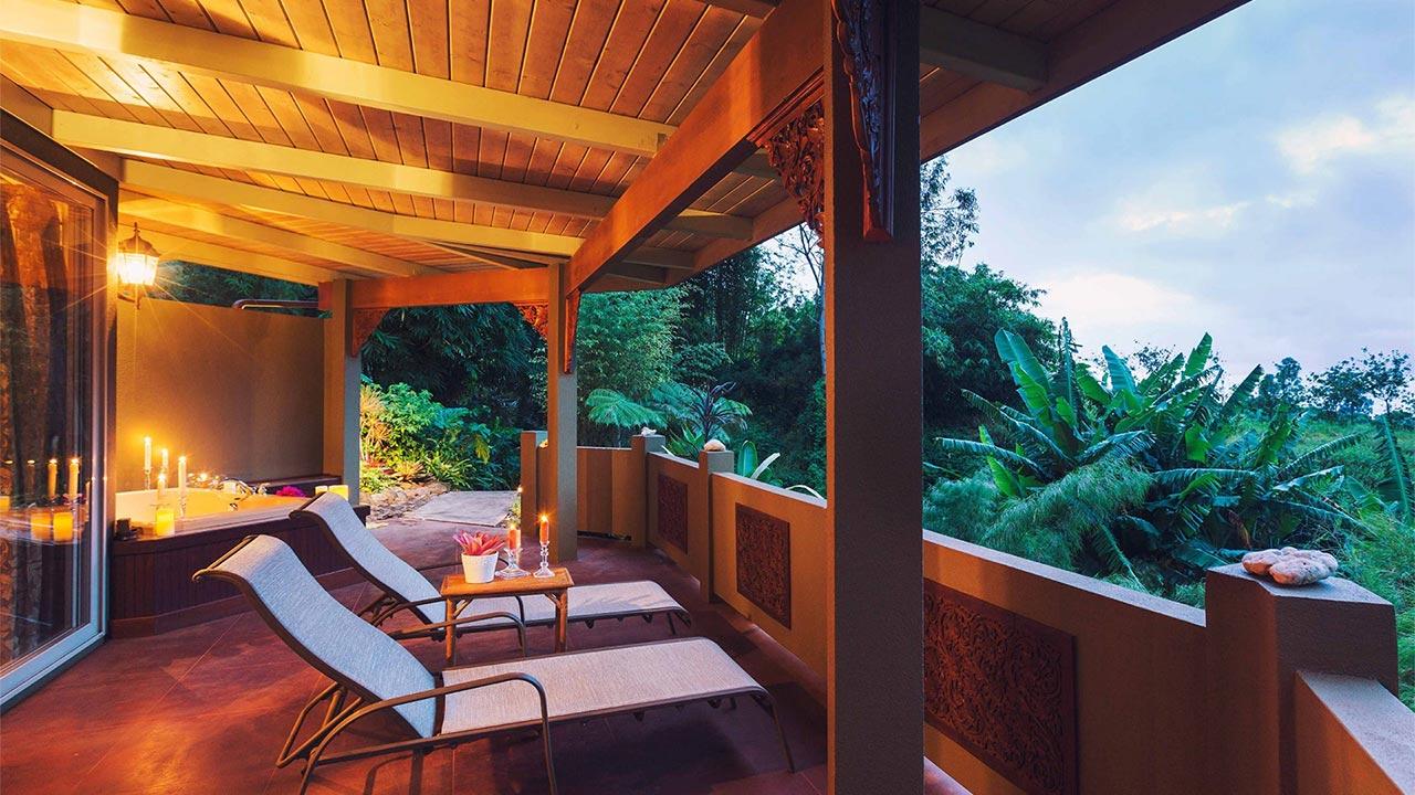 Porche de madera en terraza